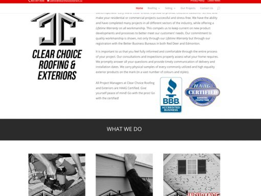 Clear Choice Exteriors – Website Design