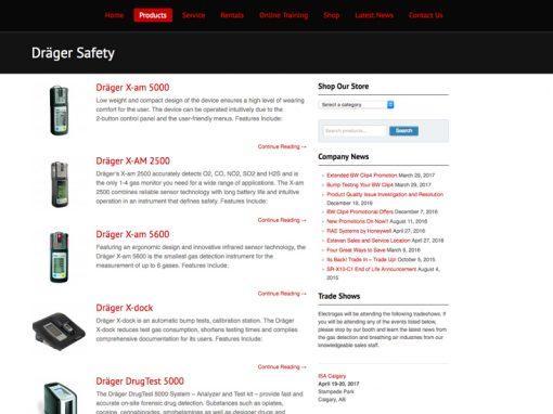 Electrogas Monitors – Website Design
