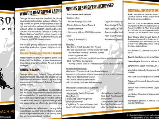 Destroyer Lacrosse – Community Outreach Brochure
