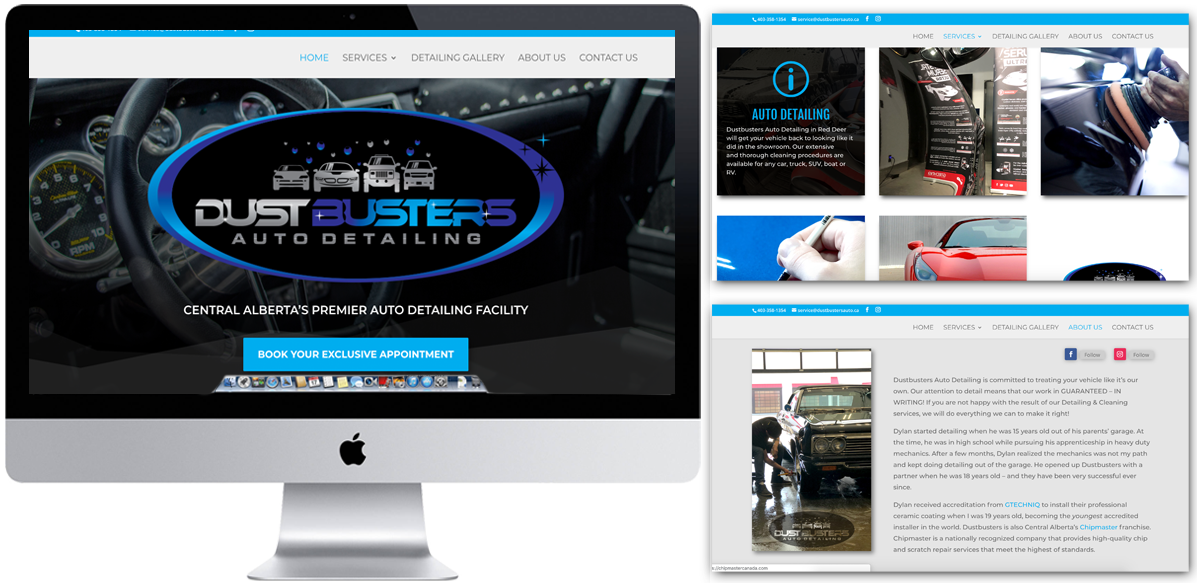 Website Redesign - Dustbusters Auto Detailing - Arktos Graphics - Red Deer, AB