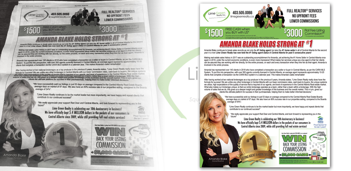 Full Page Newspaper Ad Design - Lime Green Realty - Arktos Graphics - Red Deer, Alberta