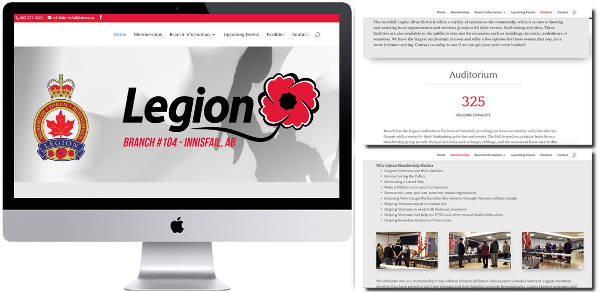 Royal Canadian Legion #104 - Website Design - Arktos Graphics - Red Deer, AB
