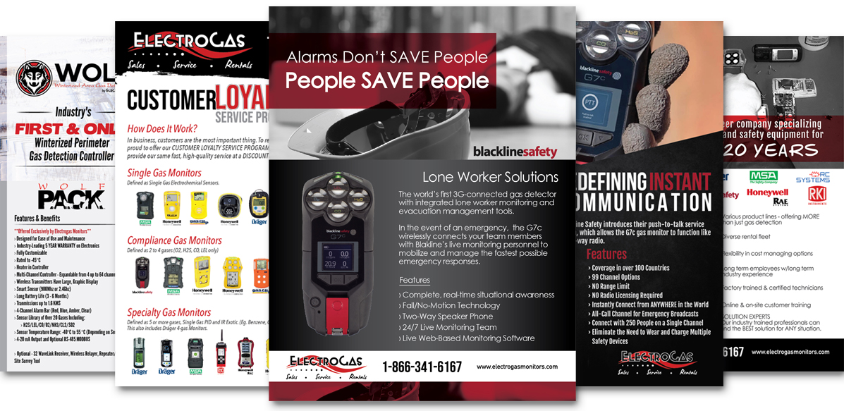 Custom Flyer Design - Featured Products by Electrogas Monitors - Red Deer, Alberta