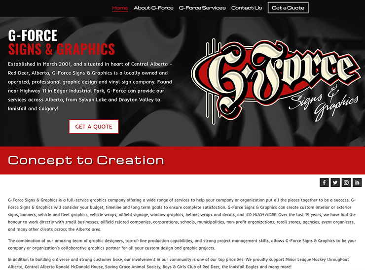 G-Force Signs & Graphics – Web Design