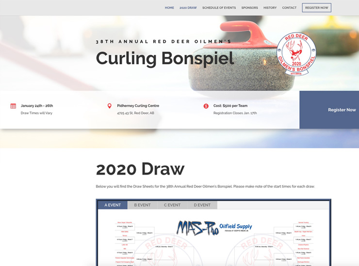 Red Deer Oilmens Bonspiel – Website Design
