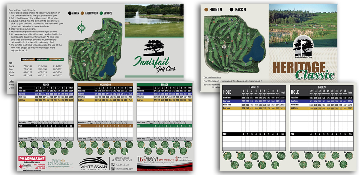 Marketing Materials - Innisfail Golf Club - Scorecard Design - Arktos Graphics